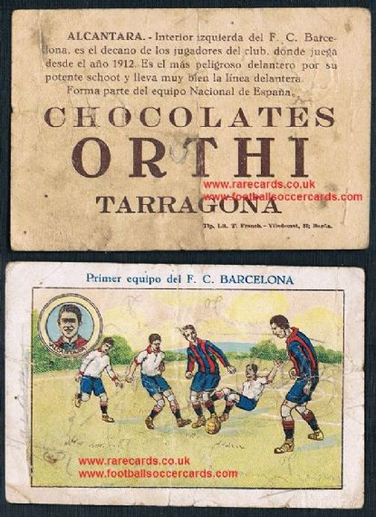 1922 Orthi Chocolates Alcantara Primer Equipo Barca trade card
